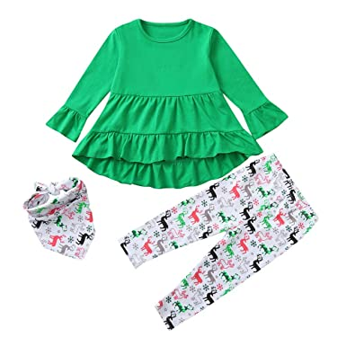 b4ea3762e9 Sagton Toddler Baby Girls Christmas Xmas Solid Dresses Top Deers Print  Pants Outfits Clothing Set (