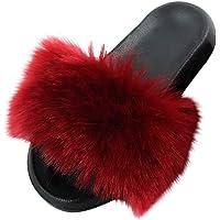 BIBOKAOKE Fluffy Slippers voor dames, winter, warme pantoffels, pluche, voor binnen en buiten, lichte slippers…