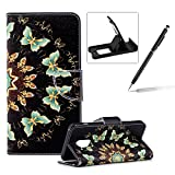 Wallet Leather Case for Samsung Galaxy A8 2018,Flip Case for Samsung Galaxy A8 2018,Herzzer Stylish Premium Blue Butterflies Printed Magnetic Stand PU Leather with Inner Soft Rubber Case