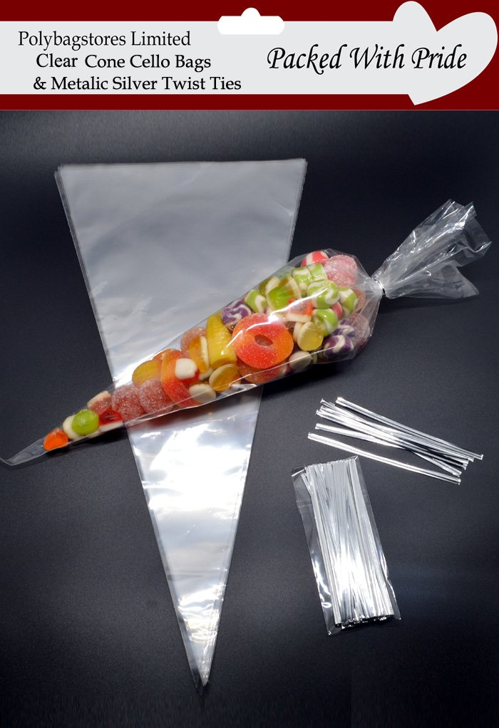 "PACK OF 50 - CLEAR CONE SHAPE CELLOPHANE SWEET / PARTY BAGS 14.5' x 7' (368mm x 177mm)   WITH 4"" METALIC SILVER TWIST TIES POLYBAGSTORES"