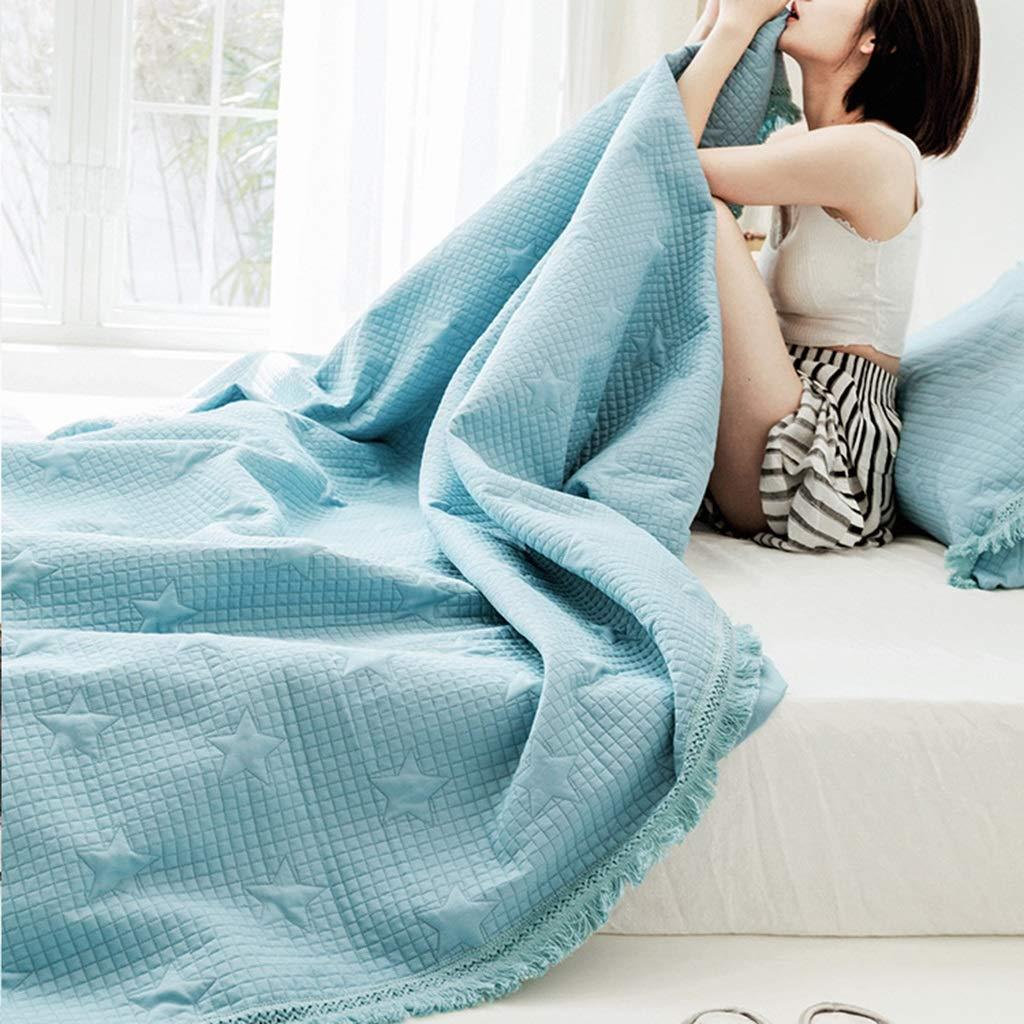 純粋な色の房のエアコンのキルト、夏のための洗濯できる綿の極めて薄い慰める人、柔らかい居心地の良い吸湿性の冷却のシングル/ツインベッドのキルトの投球毛布 (Color : Blue, Size : 200*230cm) B07TJZ29B4 Blue 200*230cm