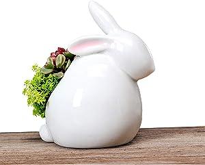 Cute Rabbit Shape Ceramic Succulent Plant Pot Container Garden Flower Decorative Plant Bonsai Pot