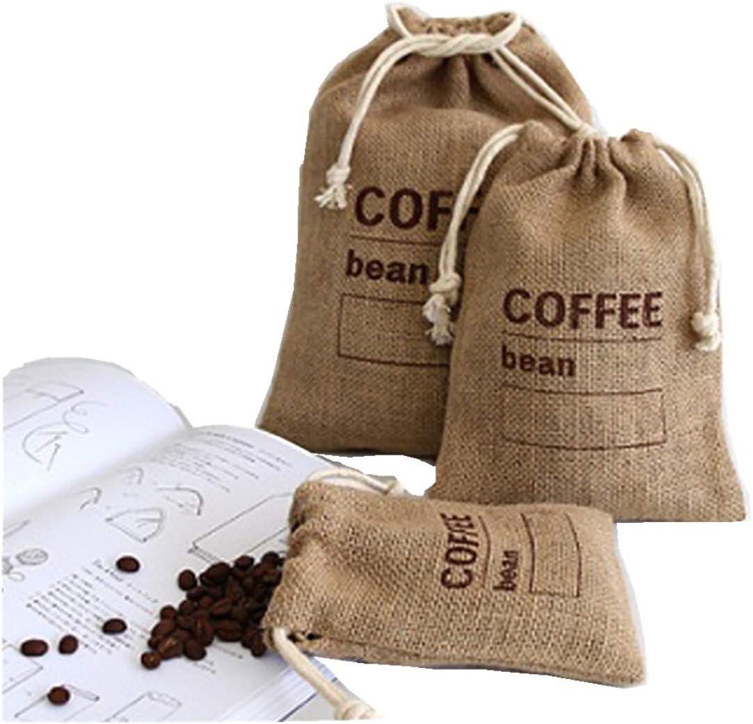 Cereals Jute Woven Bundles Coffee Bean Bags Kitchen Sundries Peas Bags Sacks Date Record Natural Burlap Bags Drawstring Reusable (1, 8.26