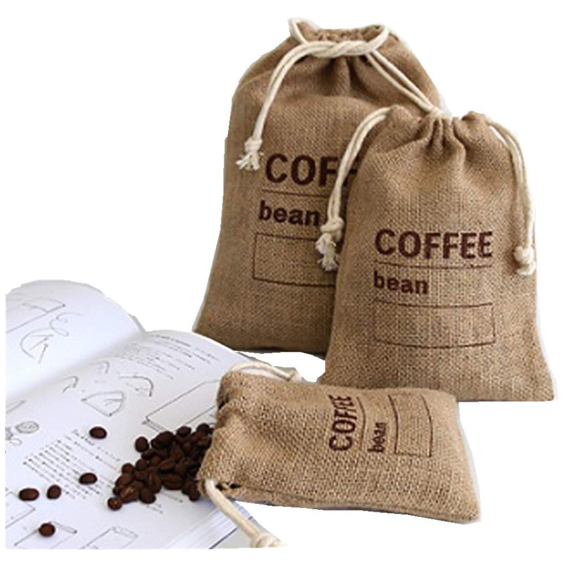 "Cereals Jute Woven Bundles Coffee Bean Bags Kitchen Sundries Peas Bags Sacks Date Record Natural Burlap Bags Drawstring Reusable (3, 11.8"" X 7.87"")"
