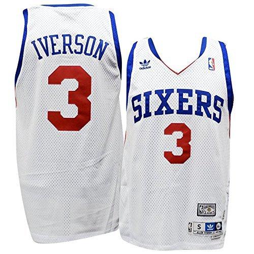 3b3936bb723 Amazon.com   Philadelphia 76ers Allen Iverson White Soul Adidas Swingman  Jersey (M)   Sports   Outdoors