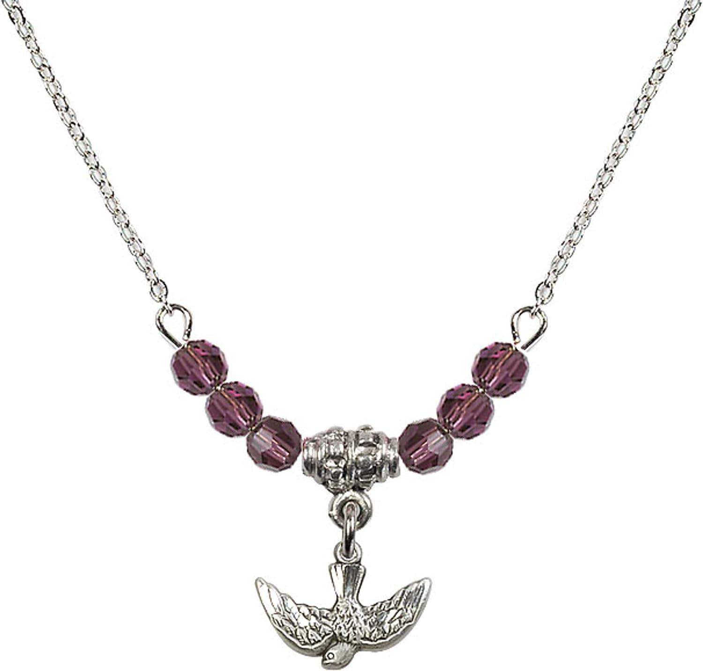 Bonyak Jewelry 18 Inch Rhodium Plated Necklace w// 4mm Purple February Birth Month Stone Beads and Holy Spirit Charm