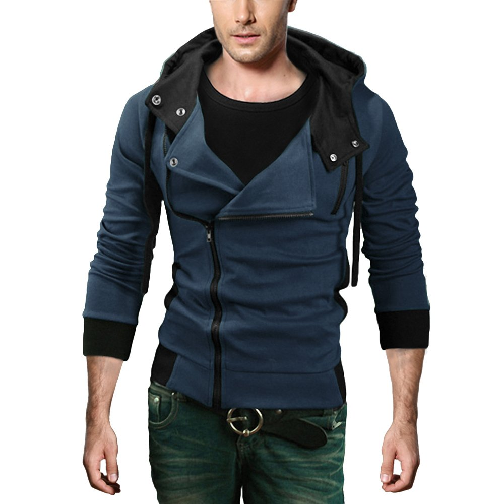 DJT Men's Oblique Zipper Hoodie Casual Top Coat Slim Fit Jacket Navy XL