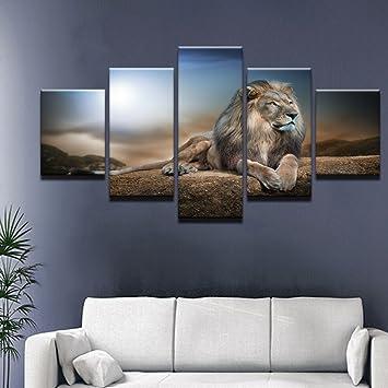 la vie 5 teilig wandbild gemalde hochwertiger leinwand bilder machtiger lowe moderne kunstdruck als olbild fur