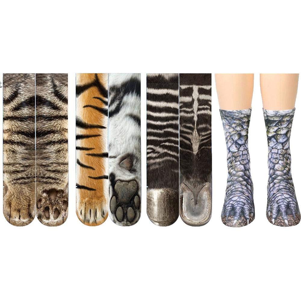 Mens Fun Dress Socks Animal Zebra Leopard Print Cotton Socks