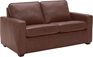 """Amazon Brand – Rivet Andrews Contemporary Top-Grain Leather Loveseat Sofa with Removable Cushions, 67""""W, Dark Brown"""