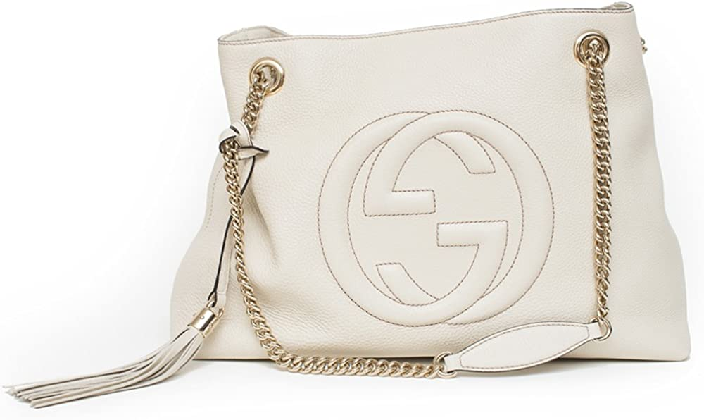 Gucci Soho Ivoire Ivory Gold Double Chain Soft Hobo Leather Shoulder Bag Italy Authentic New