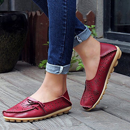 Loafers Slip fereshte on Womens Mother Cutout Slippers Purplish for Leather Red Driving Shoes Casual Flat Genuine XY1qX