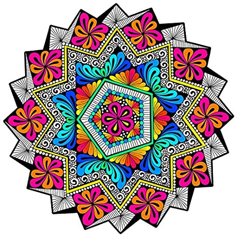 Amazon.com: \'Harmony\' Fuzzy Velvet Mandala - 20x20 Inches - Coloring ...
