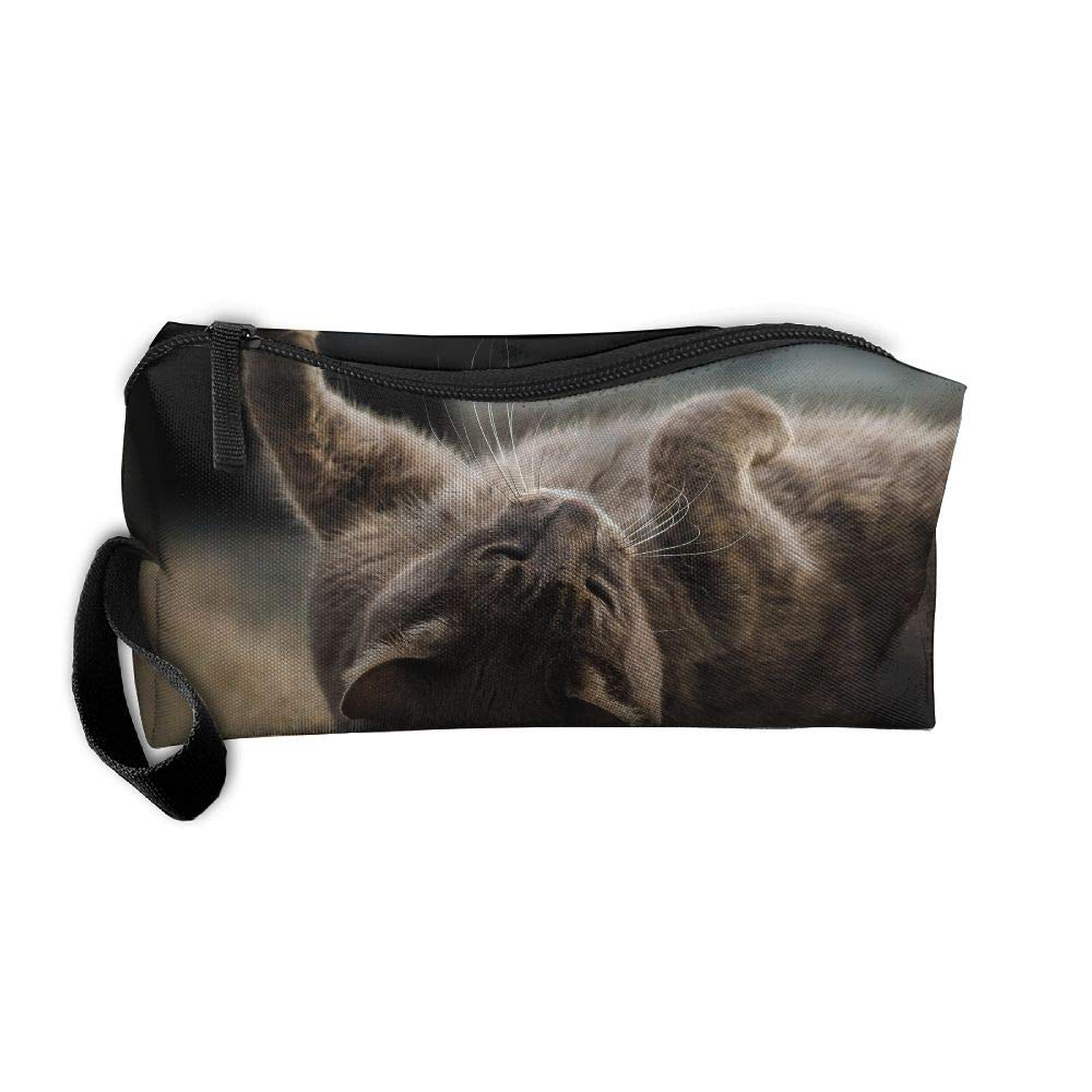 Homlife Portable Students Pencil Case Pen Bag Stationary Case Cat Lying On Ground Storage Pouch Makeup Cosmetic Bag