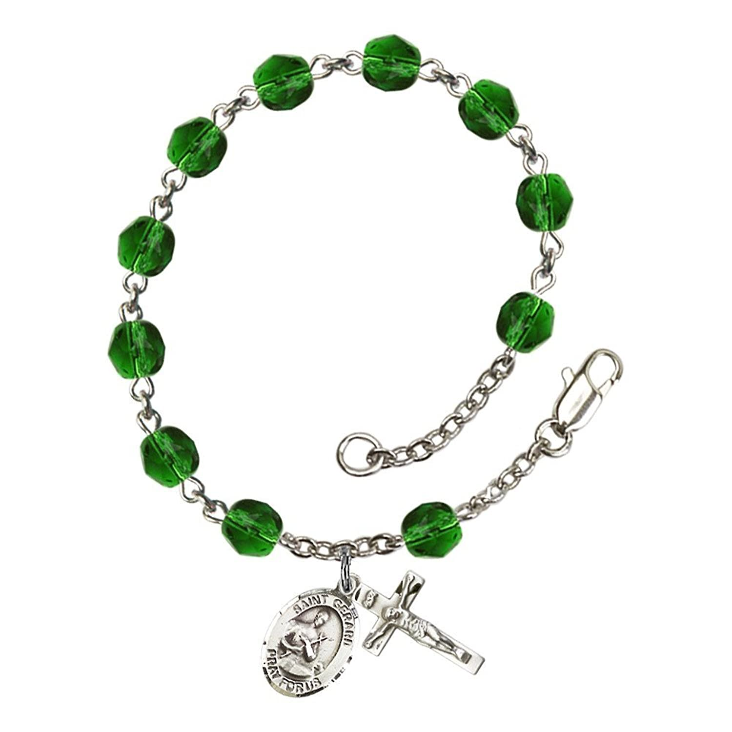 St. Gerard Majella Silver Plate Rosary Bracelet 6mm May Green Fire Polished Beads Crucifix Size 5/8 x 1/4 medal charm