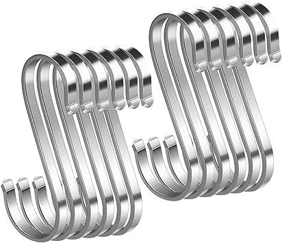 Gancho en Forma de Ese Plano 12 Ganchos en forma de S de Acero Inoxidable para Colgar 11cm Hasta 25kg de Carga