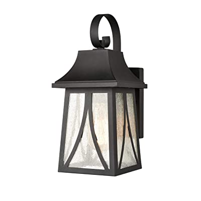 Outdoor Wall Lantern Black Finish with Seeded Glass Shade Porch Sconce Exterior Wall Light
