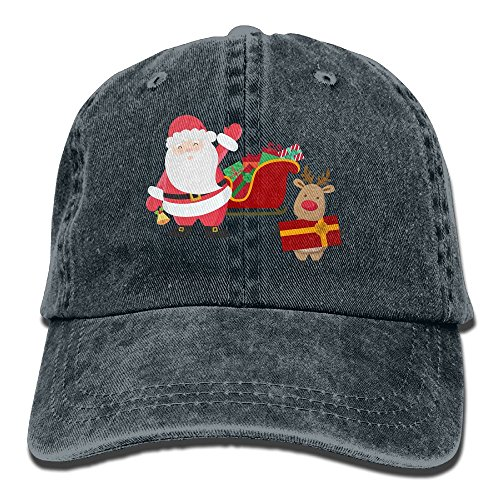 Qbeir Smile Santa Claus Adjustable Adult Cowboy Cotton Denim Hat Sunscreen Fishing Outdoors Retro Visor Cap]()