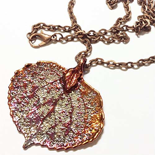 Round Leaf Pendant (Real Colorado Aspen Leaf Pendant, Iridescent Copper Dipped, rustic copper chain)