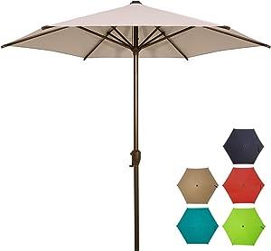 Ogrmar 7.5 FT Patio Umbrella Outdoor Table Umbrella with Push Button Tilt and Crankfor Terrace, Backyard, Garden, Courtyard, Swimming Pool, Lawn (Light Grey)