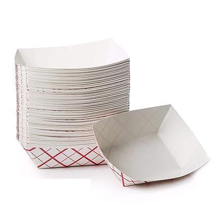Mosie 100 paquetes desechables de papel de cartón para servir alimentos bandejas de barco cestas para