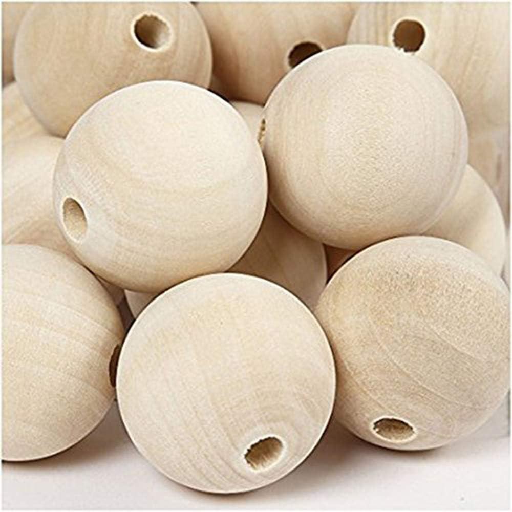 ,Generic Runde Holz-Perlen Natur,Zwischenperlen,Holz Zierperlen f/ür DIY Schmuck Herstellung. Amasawa Holzperlen Natur 14mm 120 St/ück