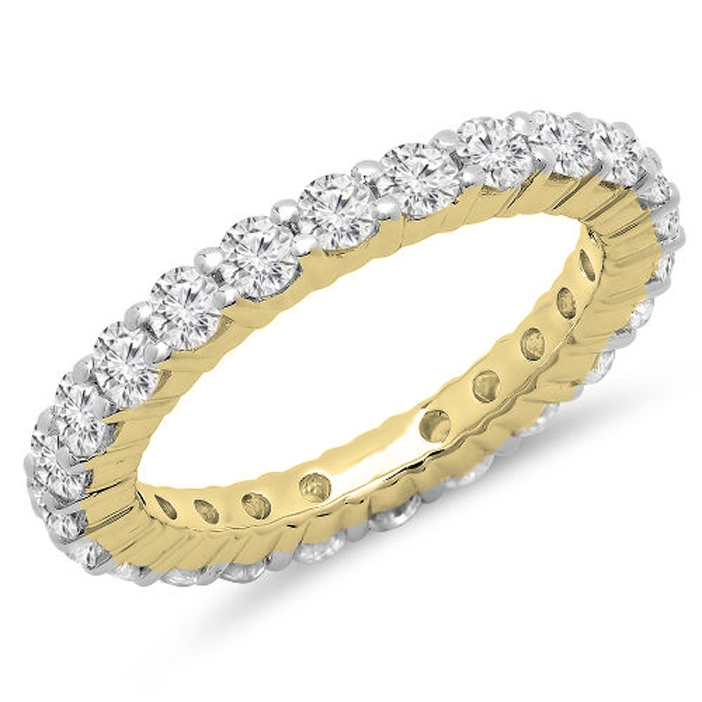 1.00 Carat (ctw) 14K Yellow Gold Round Diamond Eternity Wedding Anniversary Stackable Band (Size 5)