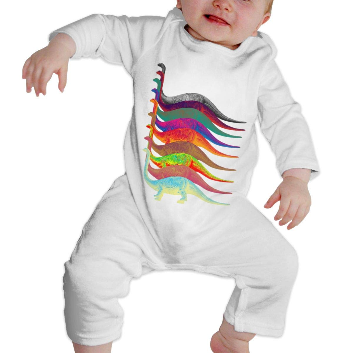 NFtrend Coloful Dinosaurs Unisex Baby Long Sleeved Rompers Soft Toddler Jumpsuit