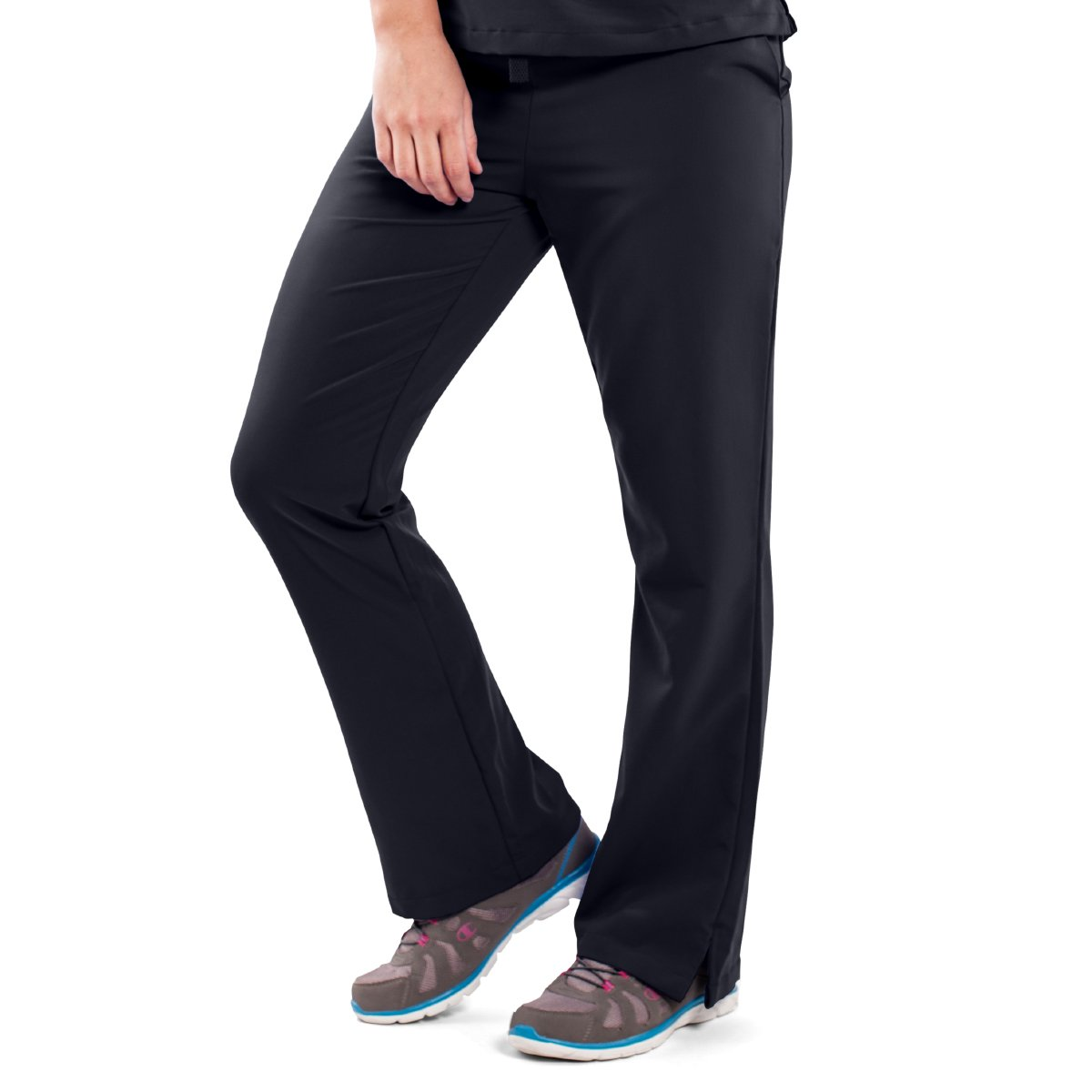 ave Women's Medical Scrub Pants, Melrose ave, Bootcut Style, Drawstring and Elastic Waist, Great for Nurses, Black, Small Tall