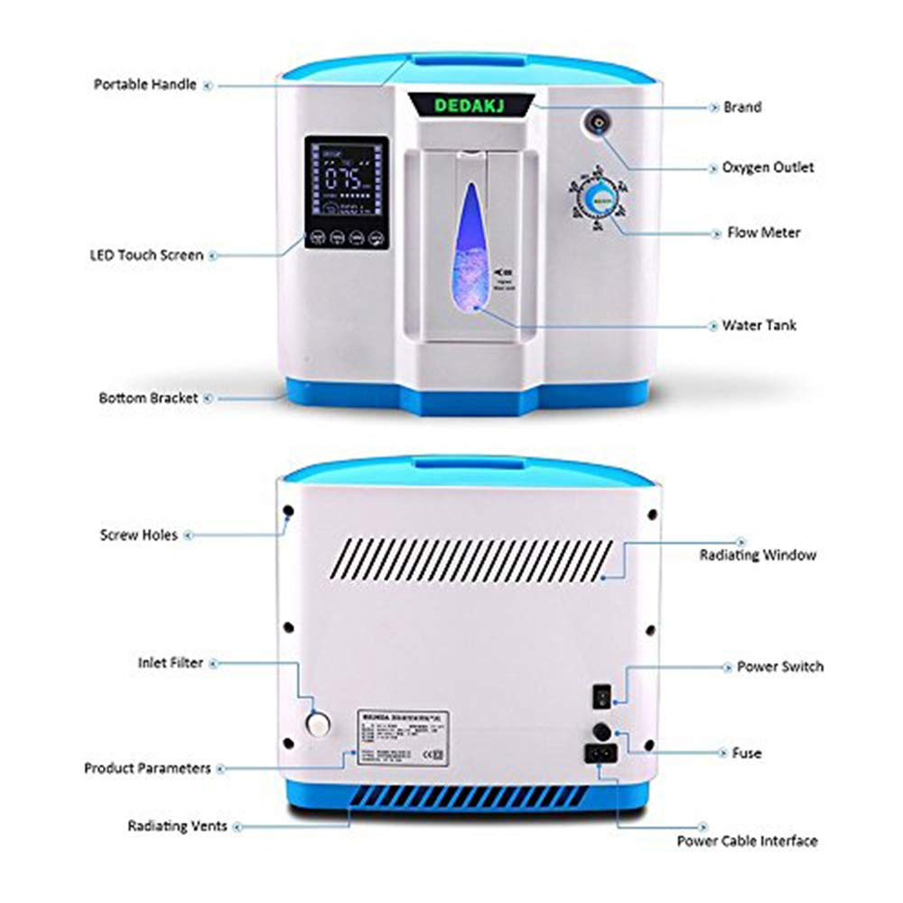 Vogvigo Portable Concentrador y generador de oxígeno 1-6L/min Oxygen Oxígeno de alta pureza Máquina Purificador de aire 90% de alta pureza para Hogar ...
