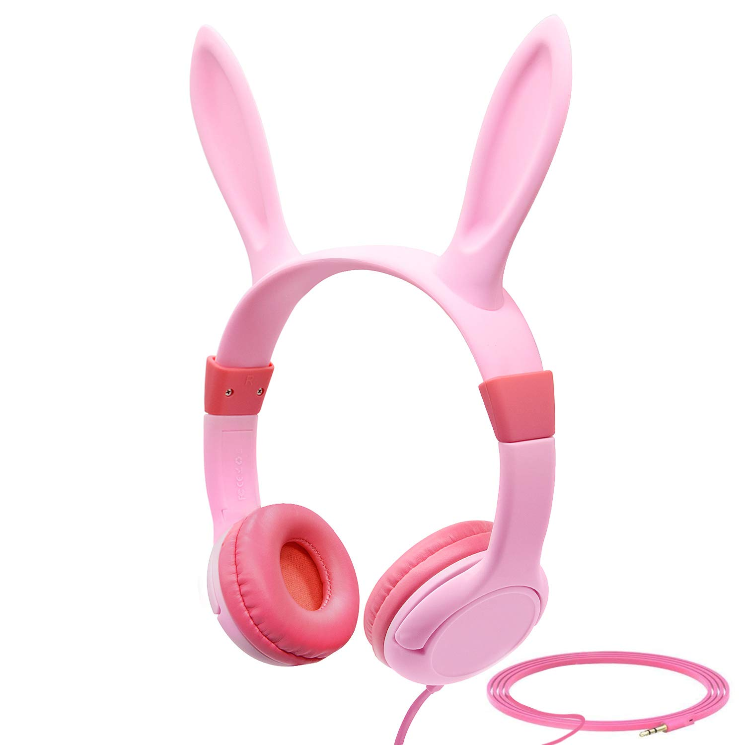 Esonstyle Kids Headphones Update Music Sharing Function,Wired On Ear Headphones with Bunny/Rabbit Ears,85dB Volume Limited,Food Grade Silicone,3.5mm Jack for Children Baby,Pink (Rabbit Ears -Pink)