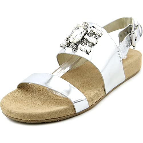 f81c61d76cb MICHAEL Michael Kors Woman s Luna Flat Sandal Silver Metallic Leather ...