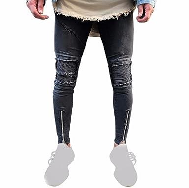 59a728579fa9 Ansenesna Hose Herren Jeans Lang Skinny Fit Destroyed Effekte Freizeithose  Mit Reisverschluss Vintage Knöchellang (28