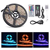 Ultra-bright LED Light Strip , Lahoku SMD 5050 5 Meter/16.4 Feet Waterproof 300 LED RGB Color Changing Lighting Kit with 44 Key IR Remote Control and DC 12V 6A Power Adapter