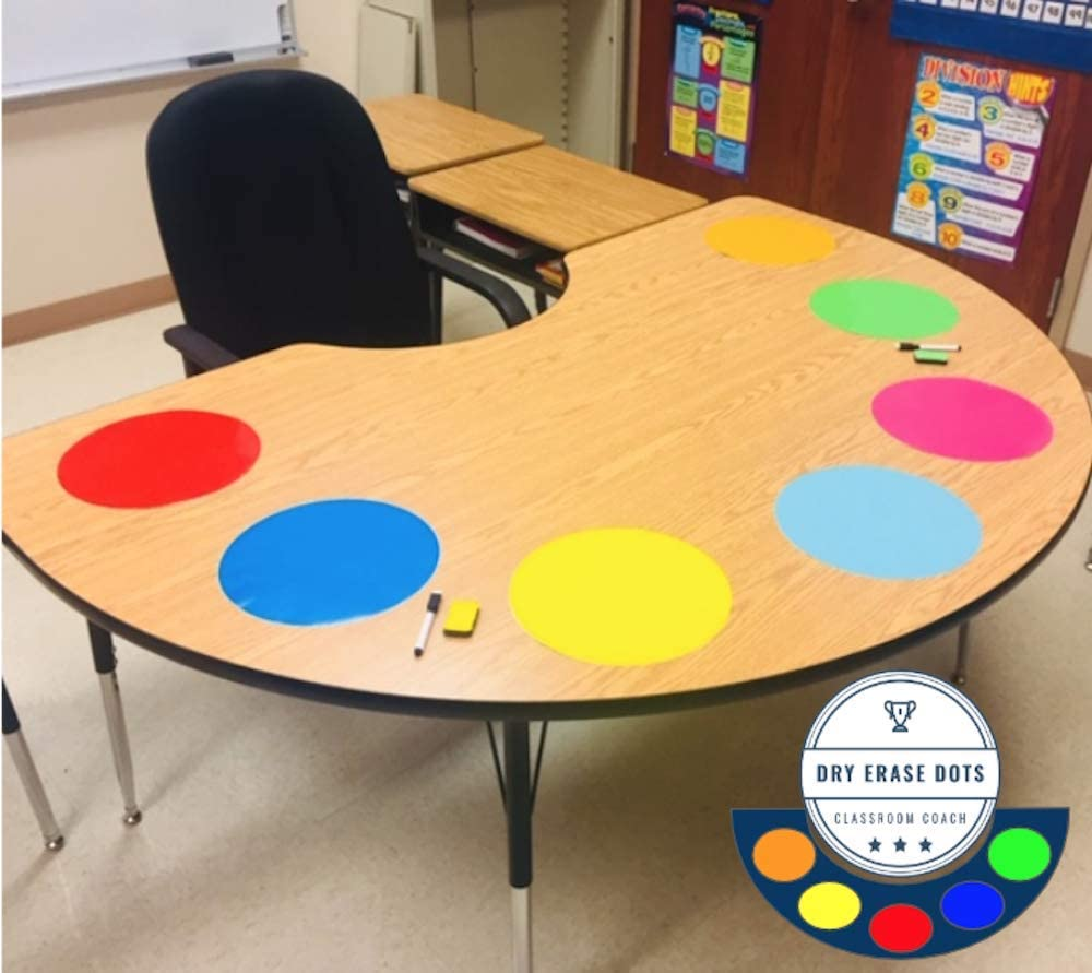 Table Dots Dry Erase Circles by Classroom Coach PET Vinyl for Easy Erasing - Set of 14 Multicolor Circles Decals for Tables, Whiteboard, or Walls! Great Teacher Classroom Supplies (14) : Office Products