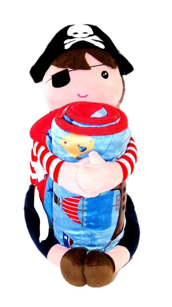 American kids Huggable Slumber Character White Red Pirate Blue Blanket