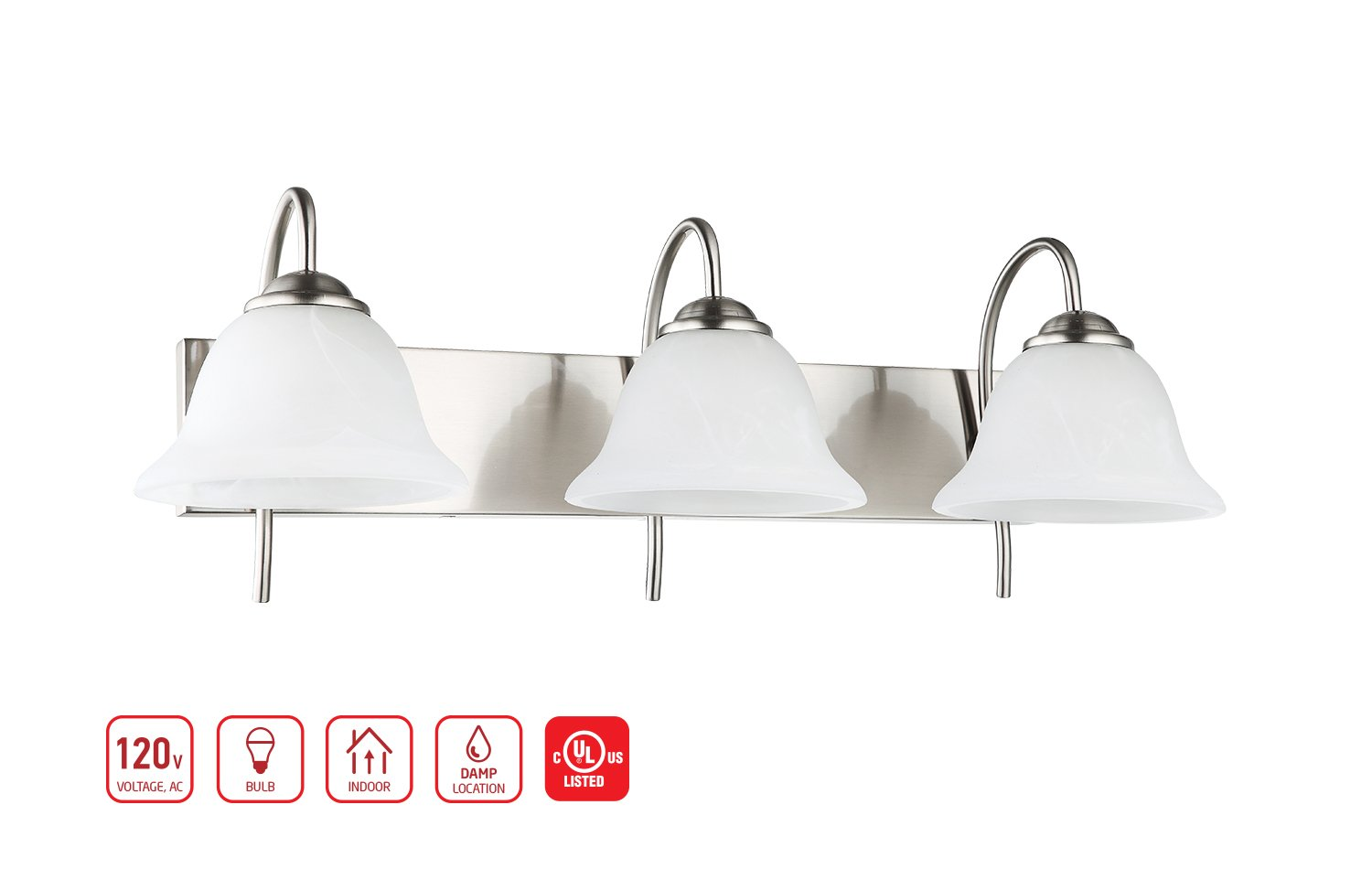 3-Light Bathroom VANITY and Kitchen Wall Sconce Fixture, Satin Nickel Finish with Alabaster Glass Bell Shades, E26 Medium Base For Three Bulbs, UL Listed