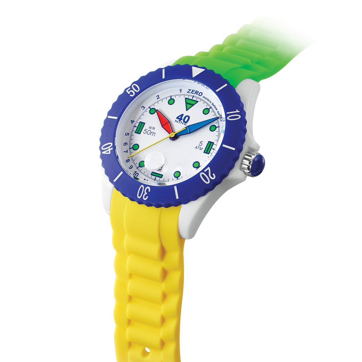 40Nine Japanese-Quartz Watch with Silicone Strap, Green, 21.3 Model 40NINE02 FUN30