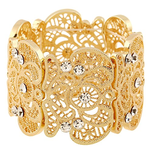 D EXCEED Women's Gold Statement Bracelet Lace Filigree Cuff Bracelet Rhinestone Stretch Bangle Bracelet for Ladies - Stretch Rhinestone Bracelet Large
