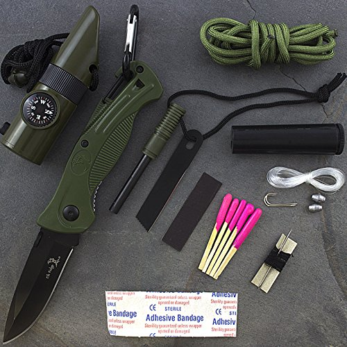 SURVIVAL KIT FOLDING KNIFE WHISTLE COMPASS FIRE STARTER by Unknown