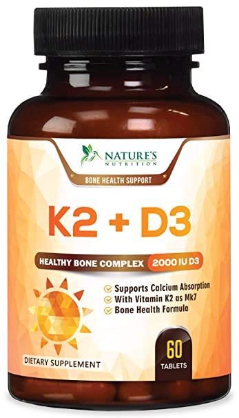 Vitamin K2 (MK7) with D3 Supplement - Vitamin D & K Complex for Calcium