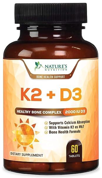 Vitamin K2 (MK7) with D3 Supplement - Vitamin D & K Complex for Calcium