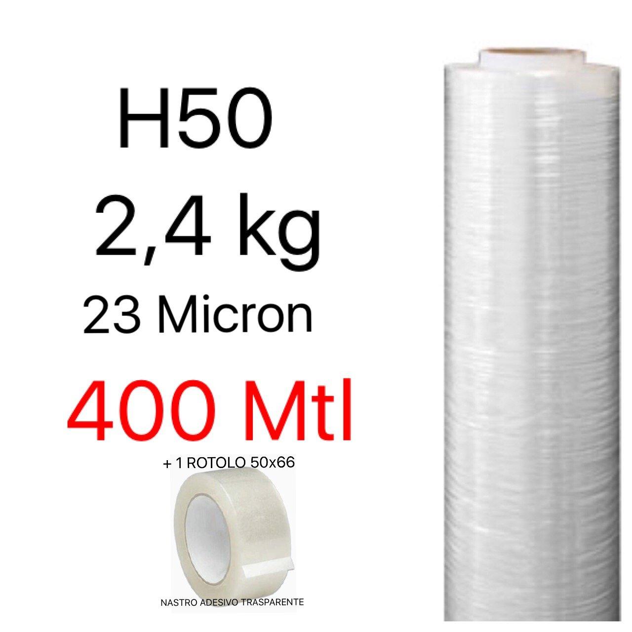 Pellicola Film in Polietilene per Imballo Imballaggi H 50 cm in Rotolo da 400 mtl spessore 23 micron peso 2, 4 kg+NASTRO ADESIVO TRASPARENTE 50x66 NP by PD