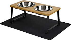 X-ZONE PET Raised Pet Bowls for Cats and Dogs, Walnut Wood Elevated Dog Cat Food and Water Bowls Stand Feeder with 2 Stainless Steel Bowls and Anti Slip Mat