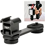 Ulanzi PT-3 Triple Cold Shoe Mounts Plate Microphone Led Video Light Extension Bracket Microphone Stand Rig Bracket Compatible for DJI OSMO Mobile 2 Zhiyun Smooth 4/Feiyu Vimble 2 Gimbal Stabilizer