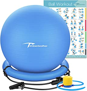 Timberbrother 65cm Exercise Ball Chair/Anti-Burst Stability Ball with Resistance Bands, Free Workout Poster & Pump for Yoga, Pilates, Gym, Office and Home Exercise