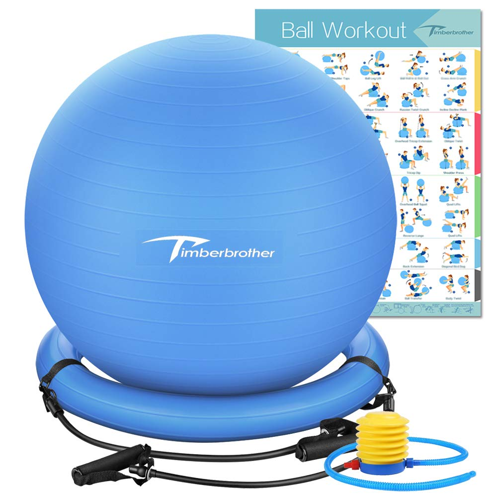 Timberbrother Anti-Burst Exercise Ball/Stability Ball 65cm Diameter with Resistance Bands & Pump for Yoga, Pilates, Fitness, Physical Therapy, Gym and Home Exercise (Blue with Ring & Bands) by Timberbrother