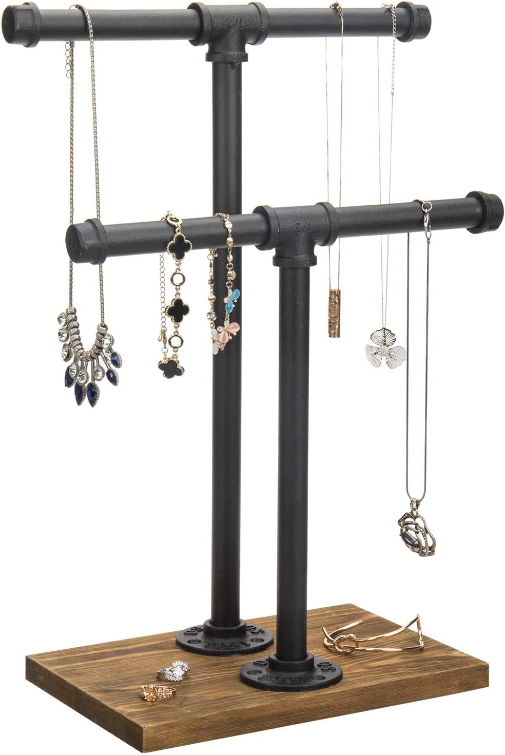 MyGift 2-Tier Urban Rustic Metal Industrial Pipe & Brown Wood T-Bar Necklace Jewelry Stand