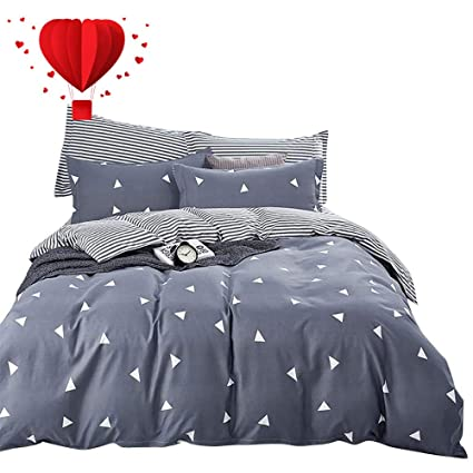BuLuTu Geometric Triangle Cotton Twin Teen Bedding Collections Navy/Grey 3  Pieces Reversible Promotional Boys