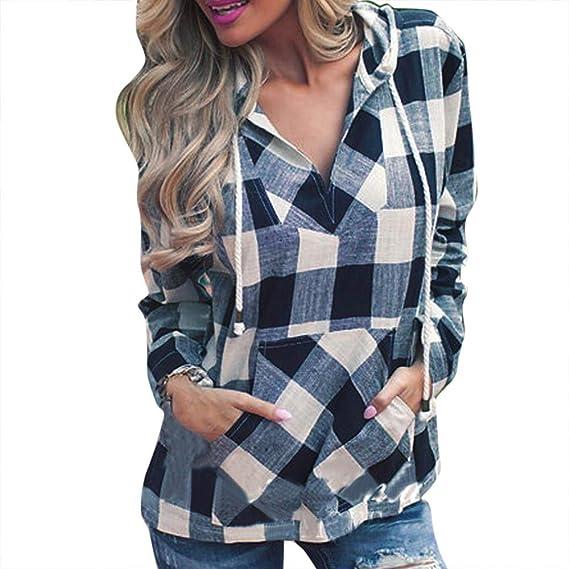 JiaMeng Mujer Sudaderas con Capucha y Blusa de Manga Larga de Rayas Camisetas Encapuchado Tops Casual